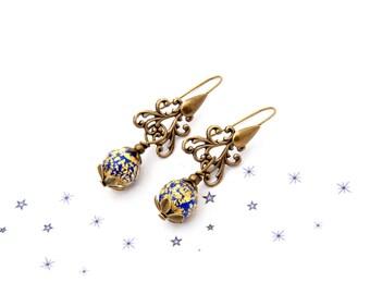 Blue Lampwork Murano glass earrings cobalt bronze gold foil