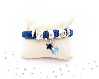 braided rope bracelet nautical sailor enamel sequin Navy blue glass bead