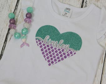 Personalized Mermaid Shirt for Girls- Mermaid Heart Shirt for kids- Girls name mermaid Shirt- Custom Mermaid Shirt for Girls