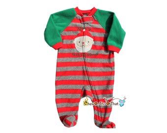 Baby's First Christmas Green and Red Striped Santa Clause Footsie Pajama, Blanket Fleece Sleeper, Pajamas with feet, PJs, Sleep and Play