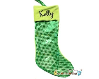Bright Green Sequin Christmas Stocking, Christmas Eve, Night Before Christmas Family Tradition, Lime Green Christmas Decorations
