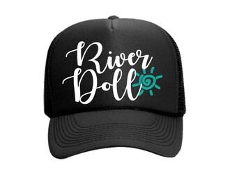 River Doll Custom Vinyl Black Foam Trucker Mesh Back Hat Snapback