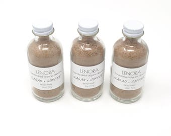 Organic Facial Mask | Cacao + Coffee | Handmade | 2 oz glass bottle | Vegan