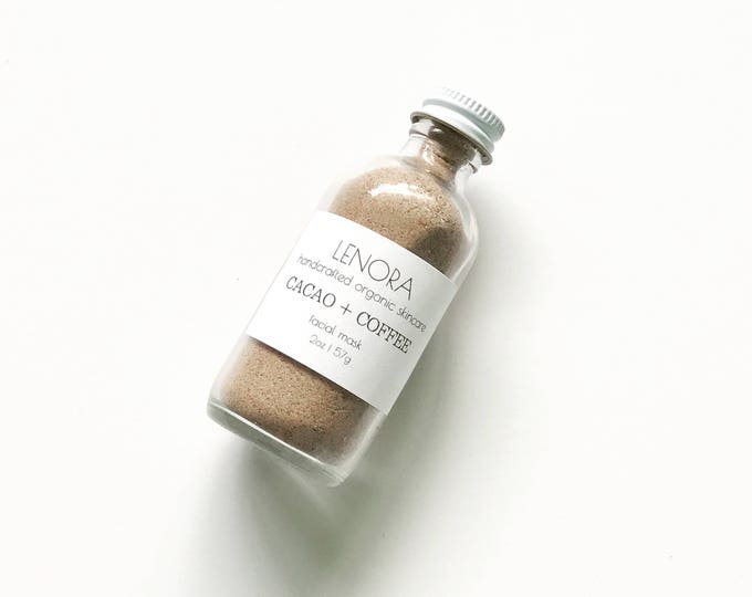 Featured listing image: Organic Facial Polish | Cacao + Coffee | Handmade | 2 oz glass bottle | Vegan