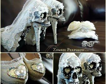 Sugar Skull Bridal Muerto Crystal Day of the Dead Heels