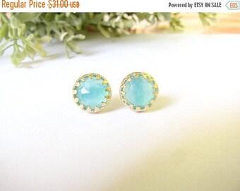 SALE - Opal studs - Gold opal studs, Stud earrings, Light blue studs, Opal earrings, Turquoise studs, Vintage opal earrings, bridal jewelry