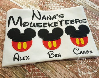 Gorgeous Custom embroidered Disney Mousketeers Shirts for the Family! 939b