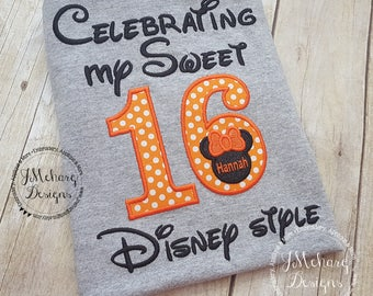Disney-Inspired Birthday Shirt - Sweet 16 - Custom Birthday Tee 802c orange