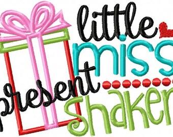 Little Miss Present Shaker - Funny Christmas Custom Tee Shirt - Embroidered tee
