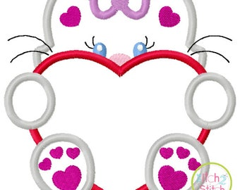 Valentines Peeker - Girl Kitty with Heart - custom Valentine shirt 4