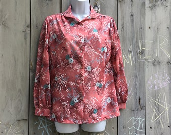 Vintage top | 1970s sheer floral boho Land 'N Sea long sleeve peasant blouse