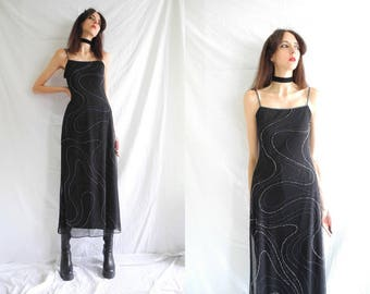 90s grunge/goth black and clear swirling beaded stretch maxi dress