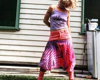 Upcycled harem pants/ palm leaves/ boho clothing/ fairy pants/ beach pants/ music festival/ bush doof. Size 10.