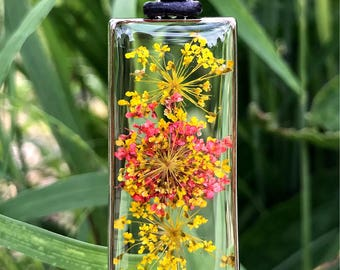 Yellow Red Queen Anne's Lace Resin Botanical Pendant
