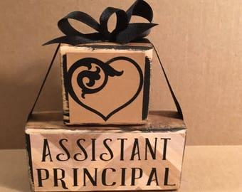 Assistant principal wooden block set, shelf sitter, assistant principal gift, office decor