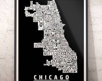 Chicago map art, Chicago art print, Chicago typography map, Chicago neighborhood map with title, several color options