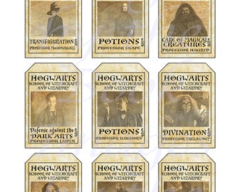 Harry Potter Hogwarts Classes, GIFT TAGS (2 x 3 inches)