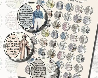 Jane Austen's Quotes and Regency Fashions Printables, ONE INCH CIRCLES (25 mm), with 1.25 inch circles and 1.5 inch circles also included