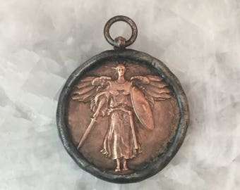 Bronze WW1 Angel Victory Medal, Soldered, Metal, Coin Only, Pendant, Large, Bezel, 2 Sided