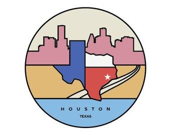 "Texas - Houston 6x6"" Graphic Design Art Print"