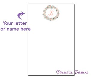 Personalized wreath notepad, mongrammed notepad for family, wreath family notepad wreath family note pad