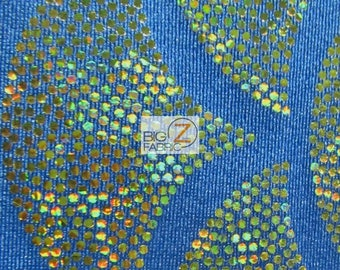2 Tone Holographic Scale Spandex Fabric - TURQUOISE/GOLD - Sold By The Yard Dress Costume Clothing Accessories Decor
