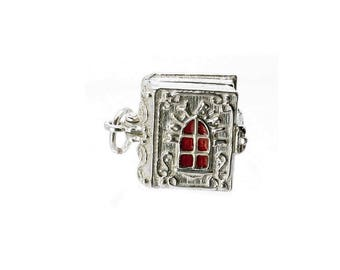 Sterling Silver Large Opening Holy Bible Charm For Bracelets