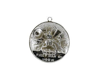 Sterling Silver 1st Man On The Moon Commemorative Charm For Bracelets