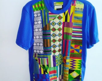 Kente Patchwork Tee - Blue