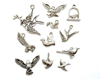 11 Assorted Antique Silver Bird Charms - 21-16-12
