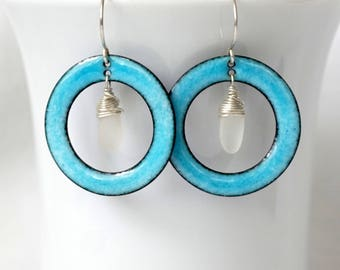 Aqua Blue Enamel and Clear Sea Glass Earrings - Enamel Jewelry - Sea Glass Jewelry, Beach Glass Jewelry