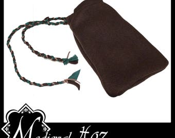 Nice Quality Large Brown Felt Bag/ Coin Pouch with platted draw string detail. LARP Medieval Costume Gothic Alternative NEW!