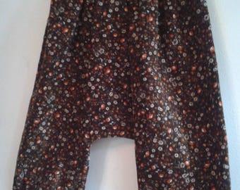 pants harem pants velvet milleraie in Brown and orange flower 12/24 months