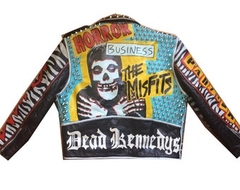 Punk Jacket - Men's Small - Leather Moto MISFITS Minor Threat Business Partisans Dead Kennedys