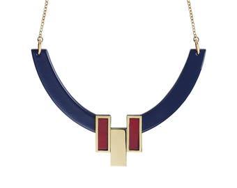 Collier Java Bleu Marine & Bourgogne • ras de cou •  géométrique • minimaliste • noël • or