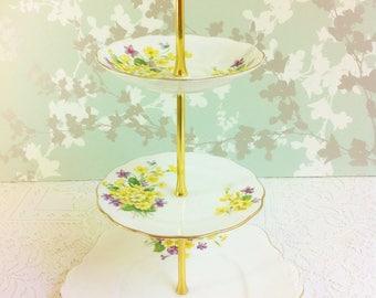 "3 Tier Cake Stand ""Primulette"" Royal Albert"