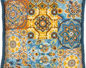 Patterns On Blue Needlepoint Kit