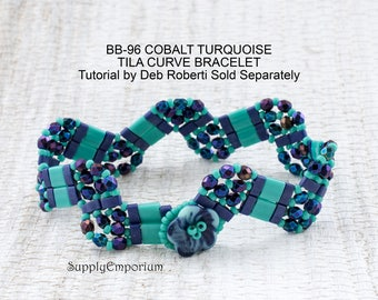 Bead Pack BB-96 Cobalt and Turquoise for Tila Curve II Tutorial by Deborah Roberti Sold Separately