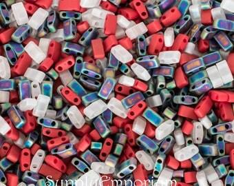 Patriotic Half Tila Bead Mix - Miyuki Patriotic Tila Beads - 673 - 5x2.3mm Tila Beads - 8 Grams - Red White and Blue Mix Half Tila