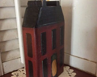 Saltbox House with Pineapple on Door Shelf Sitter, Hand Crafted and Painted