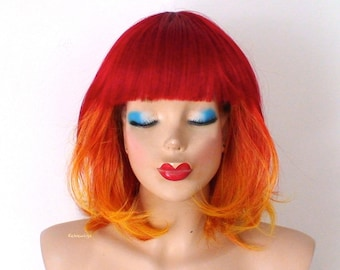 Red /Yellow Ombre wig. Short wig. Pastel red yellow vibrant wig. Durable Heat friendly synthetic wig for daily use or Cosplay.