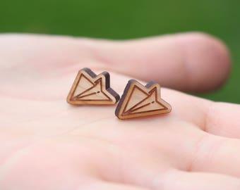 Paper Airplane Studs | Plane Stud Earrings | Wooden Studs | Airplane Studs | Hypoallergenic Studs | Titanium Earrings | Plane Studs