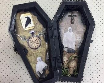 AUGUST SALE Mini Coffin Halloween Altered Art Mixed Media