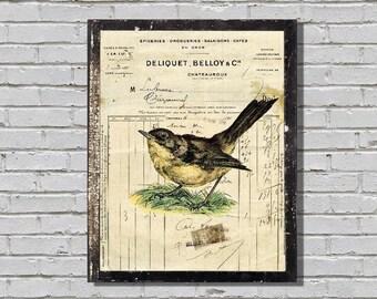 Bird on Vintage French Ledger Paper  Digital Download
