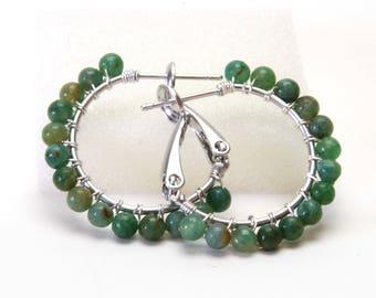 "African Jade Natural Stone Hoop Earrings - Jade Green Hoops - Wire Wrapped Silver Plated Hoops (20mm, 1"" beaded) with Posts & Leverbacks"
