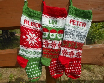 Set of 3 Personalized Christmas Stockings Hand Knitted  Christmas Gift Christmas Decoration