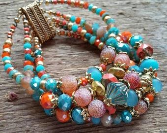 Turquoise Bead Bracelet, Beaded Bracelet, Magnetic Bracelet, Multiple Strand Bracelet, Chunky Bracelet, Bohemian Jewelry, Boho Bracelet