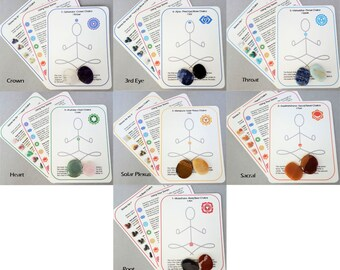 Healing Chakra Stone & Cards Kit, Healing Crystal Set, You Pick the Chakra, Root, Sacral, Solar Plexus, Heart, Throat, Third Eye Brow, Crown