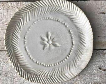 FLAT PLATE - bohemian style, handmade plate, matt white plate