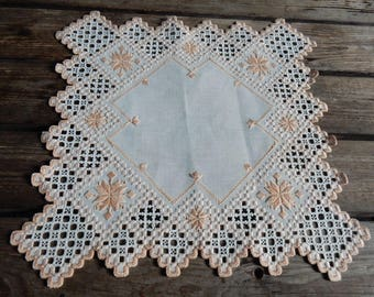 Swedish hand embroidered  doilie /  1960 s /  hardanger embroiderie / rare